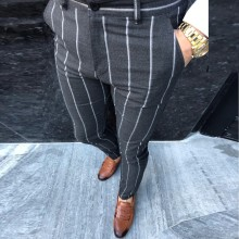 Модные мужские брюки в полоску, деловые, повседневные, облегающие, Pantalon A Carreau Homme, классический винтажный клетчатый костюм, брюки для свадьбы, 4