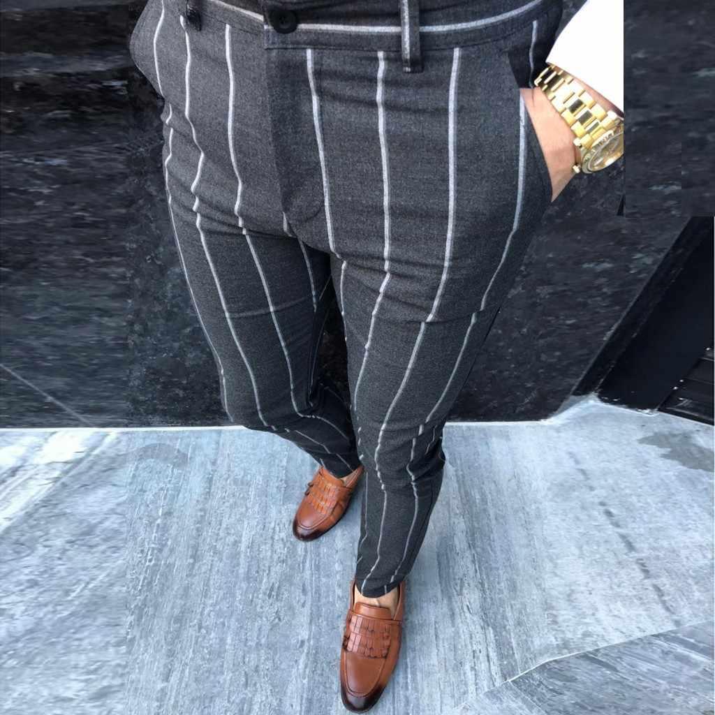 ファッションメンズストライプドレスパンツビジネスカジュアルスリムフィットパンタロンをカローオム古典的なヴィンテージのスーツズボン結婚式 4 #