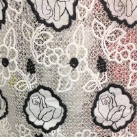 130cm width Embroidered Fabric Lace White Black Two color French Lace Fabric Flower Design Milksilk Fabric 1 yard