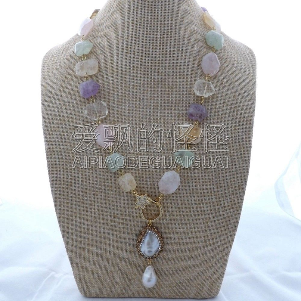 N122205 24 ''collier en cristal multicolore naturel pendentif Mabe