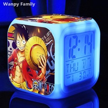 ONE PIECE Digital Alarm Clock, One Piece LED 7 Color Flash Changing Alarm Clocks Baby Bedroom Clock