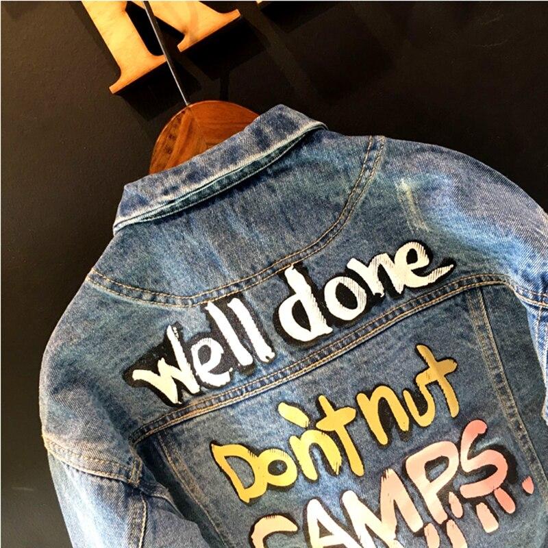 Мода девушка джинсковая куртка Письмо Граффити мотоциклетная куртка дети Обувь для мальчиков пальто Блейзер для мальчиков-младенцев джинс...