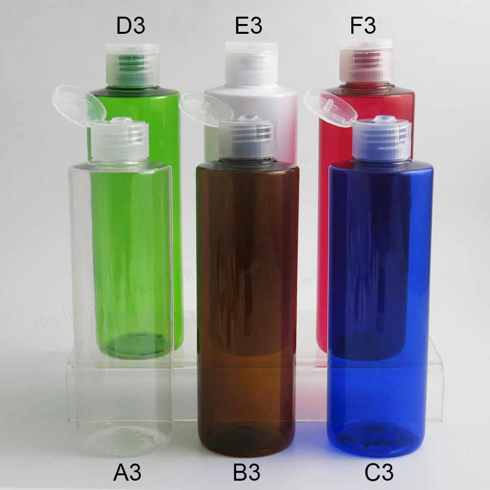 20 x Empty Refillable Blue Amber สีเขียวขวด Pet Flip Top Cap 250 มิลลิลิตรแชมพูสัตว์เลี้ยงขวด 250 มิลลิลิตรพลาสติกสีเขียวคอนเทนเนอร์