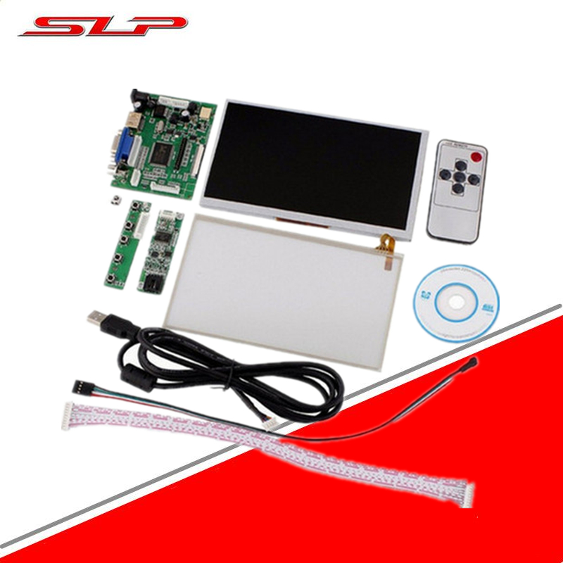 skylarpu HDMI/VGA+Control Driver Board+7inch AT070TN90 800x480 LCD Display+Touch Screen For Raspberry Pi Free shipping hdmi vga 2av lcd driver board vs ty2662 v1 71280 800 n070icg ld1 ld4 touch panel