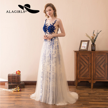 Alagirls Sexy vestido longo 2019 New Arrival Evening Dress A-line Illusion Lace Gown Hot Sale Prom Dresses Party