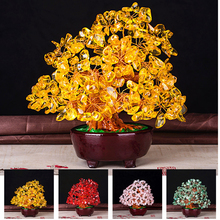 6 Inch Colorful Crystal Bonsai for Wealth Home Living Room Gem Stone Money Tree Feng Shui Home Office Gift Birthday Good Luck feng shui obsidian stone wealth pi xiu bracelet attract wealth and good luck