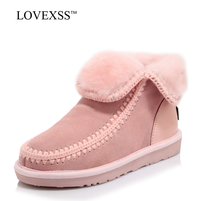 LOVEXSS Woman Shearling Snow Boots Winter Black Pink Platform Ankle Boots Fashion Genuine Leather Fur Shearling Snow Boots 2017