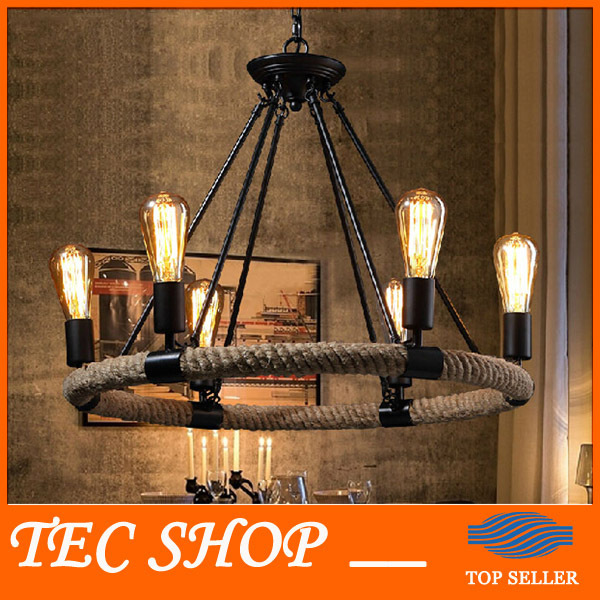 Best Price Vintage American Country Rope Ceiling Lights RUSTIC Vintage Iron Hemp Rope Light Retro Cafe Restaurant Bar Light retro matte black iron ceiling light american industrial iron lights