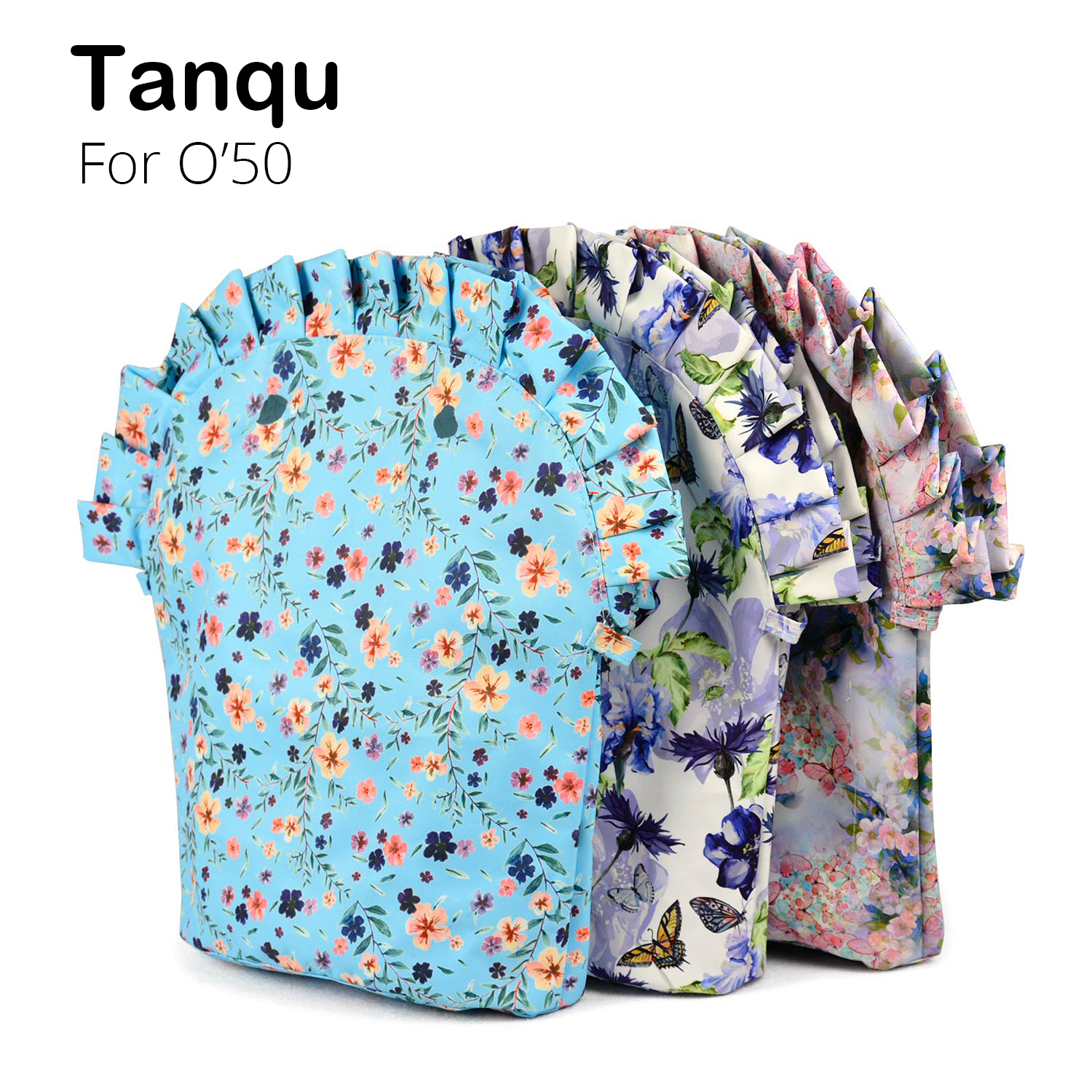 TANQU Floral Frill Pleat Lining Zipper Pocket For Obag 50 Composite Cloth Insert With Inner Waterproof Coating For O Bag 50
