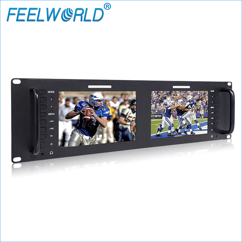Feelworld D71 Dual 7 Inch 3RU IPS 1280x800LCD Rack Mount Monitor with 3G-SDI HDMI AV Input and Output Broadcast Quality Monitors aputure vs 5 7 inch sdi hdmi camera field monitor with rgb waveform vectorscope histogram zebra false color to better monitor