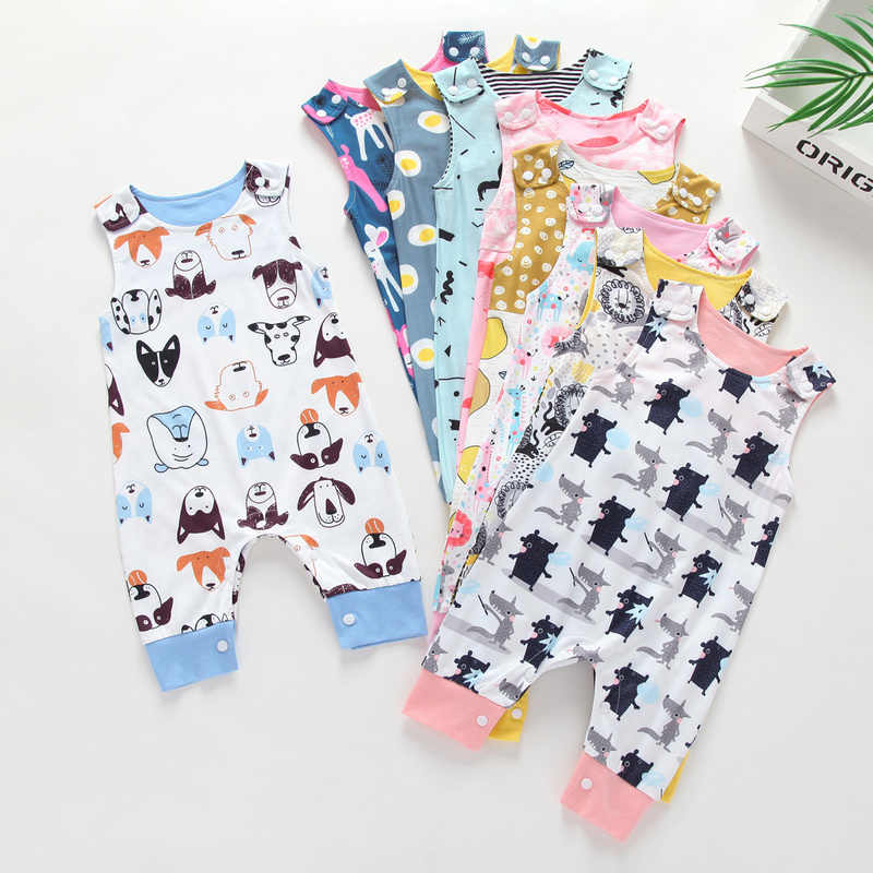 2019 Baby Sleeveless Long Romper Newborn Rompers Toddler Boys Girls Clothes  Floral Elephant Jumpsuit Playsuit for Kids Sunsuit