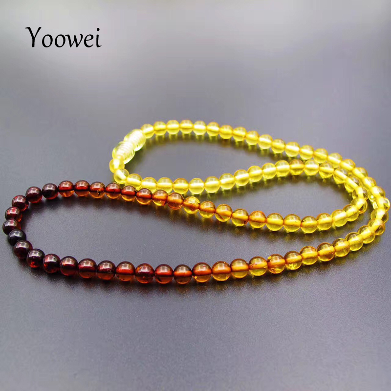 Image 3 - Yoowei 5mm Amber Necklace for Etsy Original Round Beaded Jewelry 