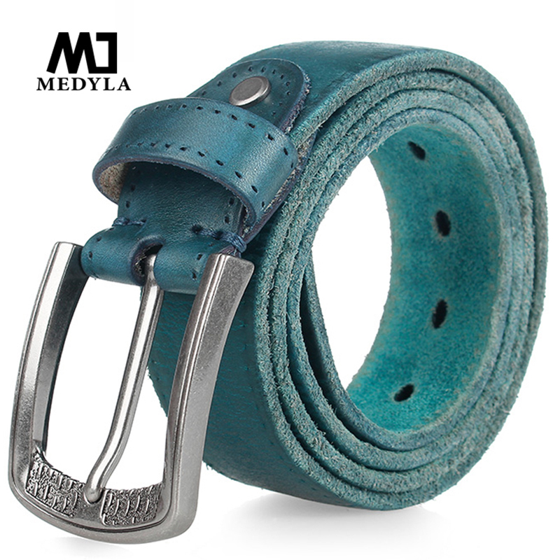 MEDYLA Fashion Brand Men's Genuine Leather   Belt   High-quality Alloy Buckle Casual Retro Brown Long   Belts   105cm to 150cm Dropship