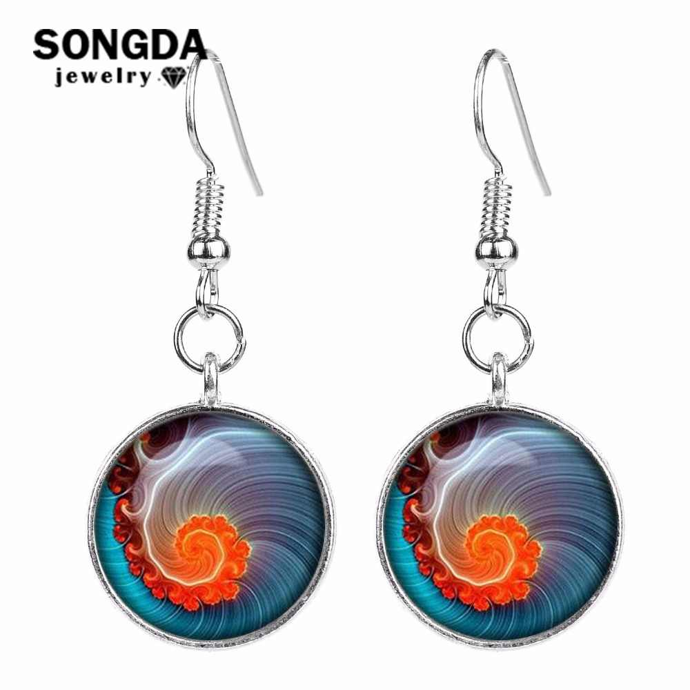 SONGDA 2018 New Bohemian Jewelry Mandala Flower Glass Cabochon Earrings OM Religion Buddhism Zen Symbol Long Drop Earrings Women