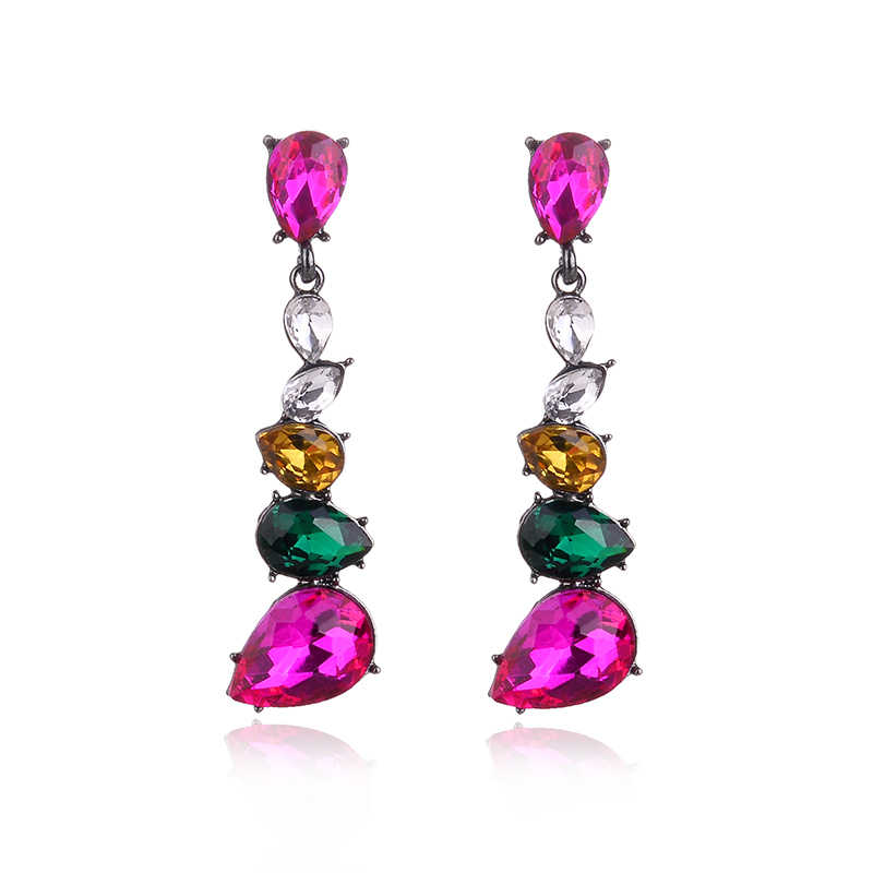 Mixed Colors Crystal Water Drops Dangle Earrings Silver Color Metal Crystal Drop Earrings Fashion Women Jewelry Christmas Gift
