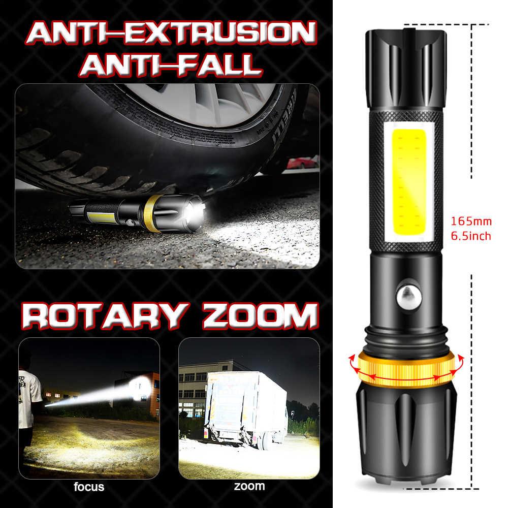 Parlak LED COB el feneri USB Torch T6 L2 el feneri şarj edilebilir 5 mod el feneri su geçirmez LED meşale 18650 pil