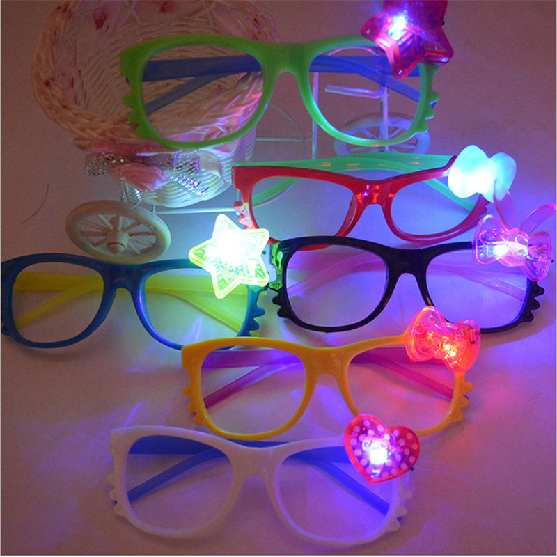 5 pcs/lot Fashion Luminous toys led light Flashing Glasses Glowing Kids light up Toys Christmas Wedding Party Supplies led toys