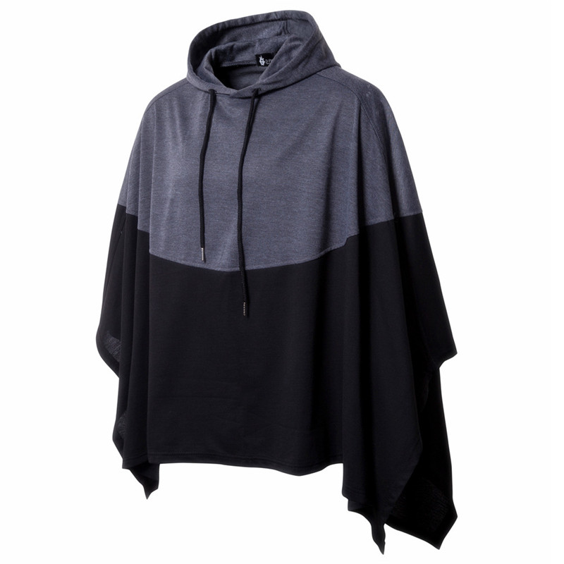 US $13 5 10% OFF|Winter Mens Poncho Hoodie Irregular Color Stitch Splice  Casual Hooded Sweatshirt Jumper Pullover Mantle Cloak Coat Party Wear-in