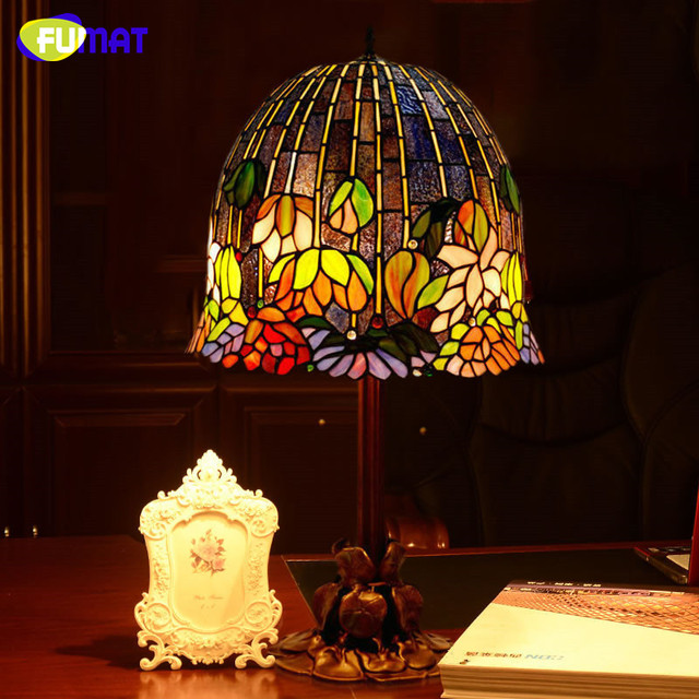 FUMAT Glass Lamp Art Water Lily Table Lamp Classic Tiffany Stained Glass Table  Lamp Home Decor