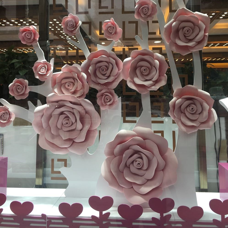 Custom color 15pcs/Set Giant Paper Foam Flower,Large Big Paper Flower For Wedding Party Background Flower Wall Baackdrop Decor