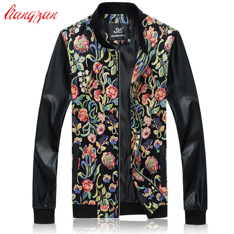 Men Jacket Coat Autumn Spring Casual Jackets Brand Plus Size M-5XL PU Leather Korean Slim Fit Printed Overcoat F2286