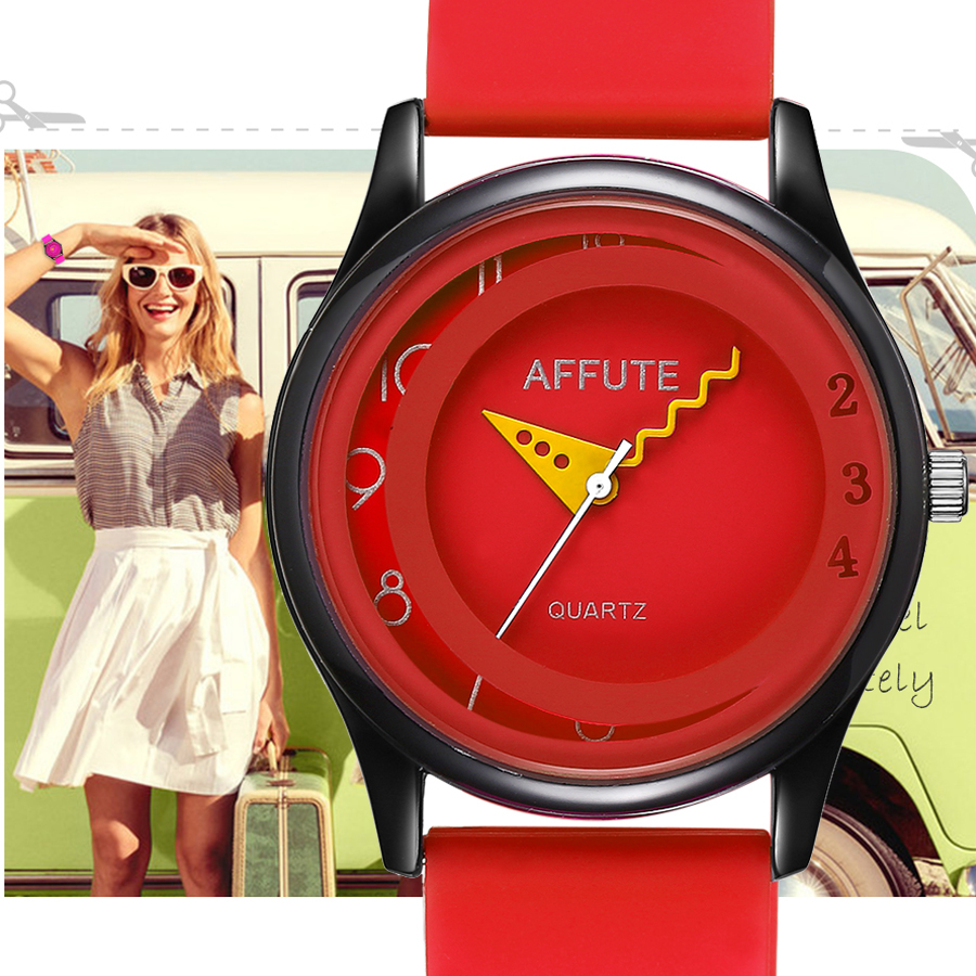 AFFUTE Brand Fashion Casual Candy Red Silicon Rubber Strap Womens Sport Quartz Analog Watches Female Girls