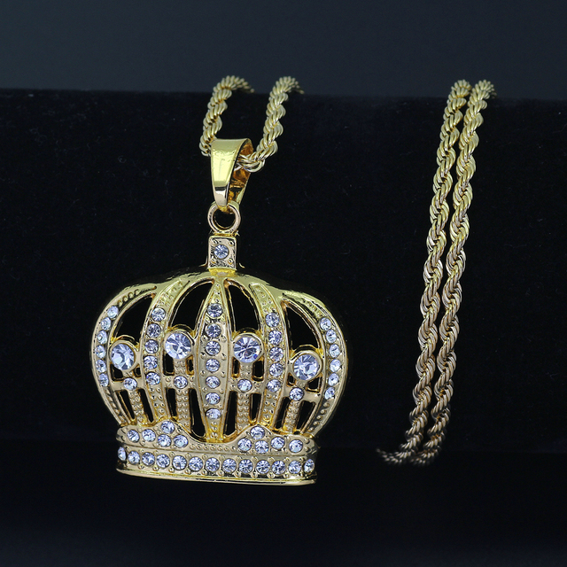 6e7d5ef7bd47a US $4.49 10% OFF|Hip Hop King Crown Pendants Necklace Iced Out Rhinestone  women Necklace 24inch Stainless Steel Rope Chain N579-in Pendant Necklaces  ...