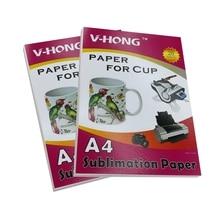 Высококачественный струйный принтер формата А4 с индивидуальным логотипом, термосублимационная бумага для переноса воды, керамическая стеклянная кружка и бумага для стаканчиков