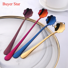 3Pcs/Lot Flower head long handle spoon Colorful stainless steel Spoons Flatware Drinking Tools Kitchen Mini Coffee TeaSpoons