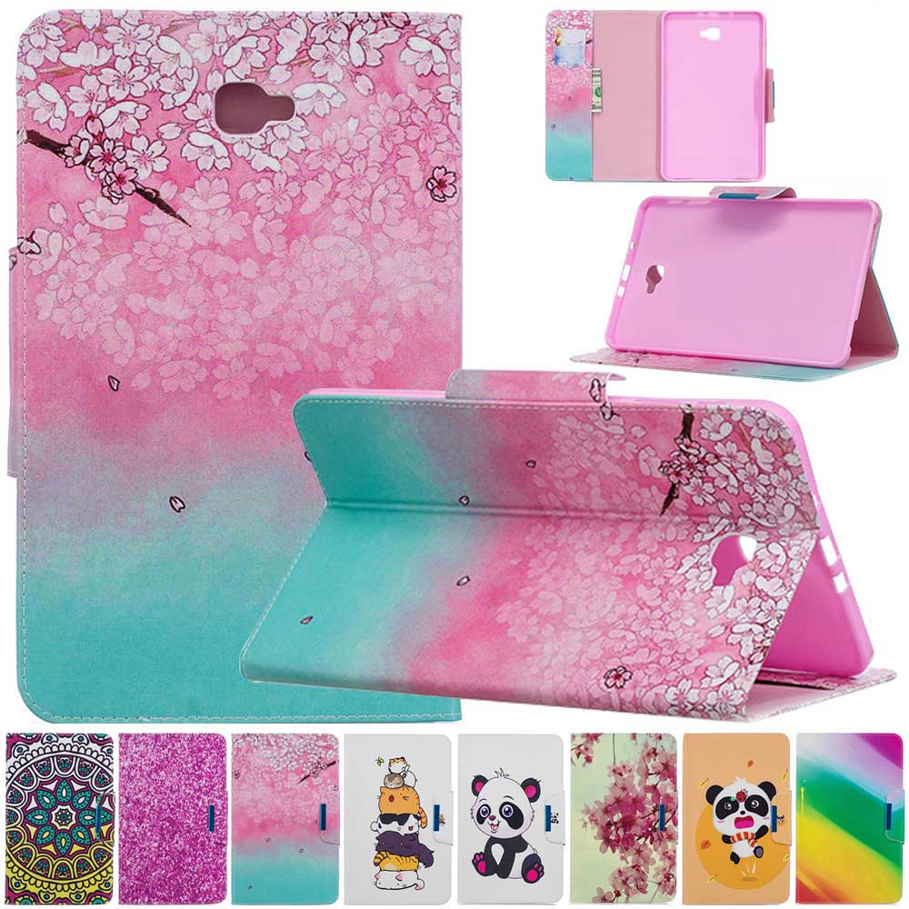 Painted Leather Case for <font><b>Samsung</b></font> <font><b>Galaxy</b></font> <font><b>Tab</b></font> <font><b>A</b></font> 9.7 inch <font><b>T550</b></font> T555 SM-<font><b>T550</b></font> <font><b>Tablet</b></font> Protective Cover Wallet Flip Stand Case <font><b>Fundas</b></font> image