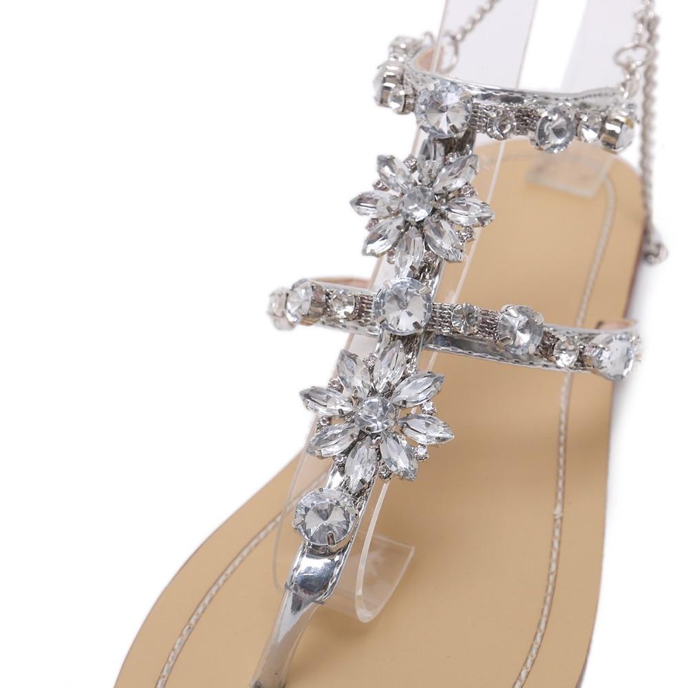 HTB1mGPqaXyZBuNjt jJq6zDlXXaM 6 Color Woman Sandals Women Shoes Rhinestones Chains Thong Gladiator Flat Sandals Crystal Chaussure Plus Size 46 tenis feminino