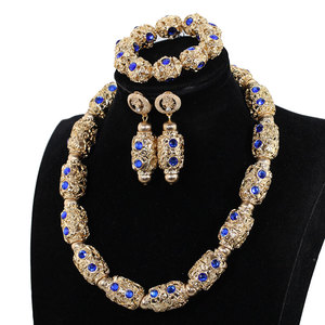 Image 4 - Decorate Royal Blue Rhinestone African Gold Beads Necklace Jewelry Nigeria Wedding Beads Necklace Earrings Bracelet P84 3