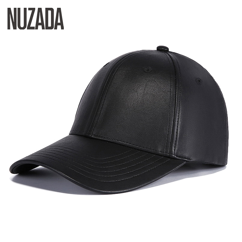 Brand NUZADA Winter Autumn Baseball Cap For Men Women Couple Quality Full PU Leather Bone Caps Hats Solid Color Snapback new high quality warm winter baseball cap men brand snapback black solid bone baseball mens winter hats ear flaps free sipping