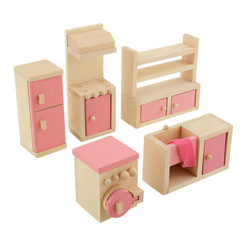 5pcsset novelty pink wooden dollhouse furniture kitchen set girls doll house decoration accessories for children birthday giftin furniture toys from toys