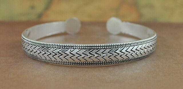 Antique Style Silver Plated Carved Wild Tribe Bracelets