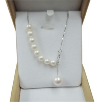 100% NATURE FRESHWATER PEARL POPULAR NECKLACE 925 SILVER WITH white gold plating