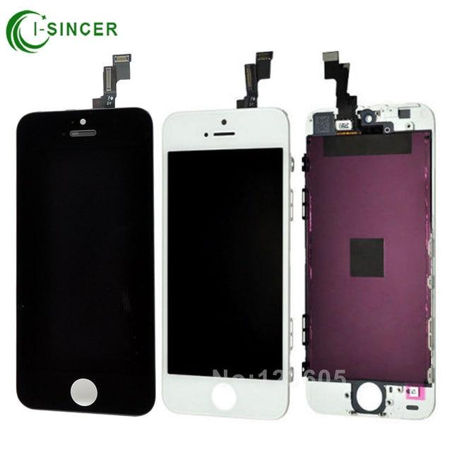 Hot sale 100% brand new display lcd para apple iphone 5s 5c 5 com tela de toque digitador assembléia para iphone 6 6 plus preto branco