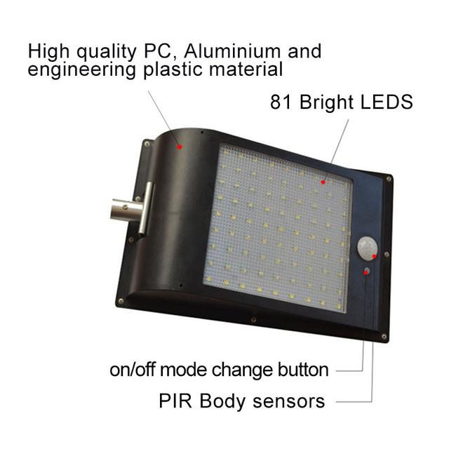 High Quality Power Outdoor IP65 1000 Lumen 81 Leds integrated solar street light Motion Sensor Solar Lamps