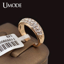 UMODE Classic anillos mujer bague aros Rose Gold Color Rhinestones Studded Finger Rings JR0084A(China)
