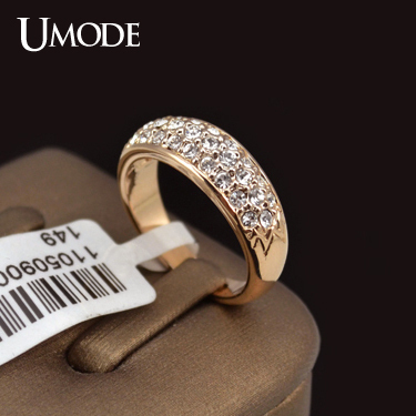 UMODE Classic anillos mujer bague aros Rose Gold Plated Rhinestones Studded Finger Rings JR0084A