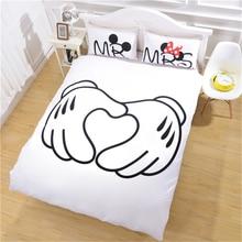 Disney Mickey & Minnie Bedding Set Bed Linen Kids Gift Bedclothes Duvet Cover Cartoon Pillowcase Love You Twin