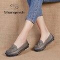 Mulheres primavera sapatos 2017 genuínos oxfords de couro de vaca sola muscular sapatos baixos mocassins Sapatos Feitos À Mão de couro das mulheres do sexo feminino