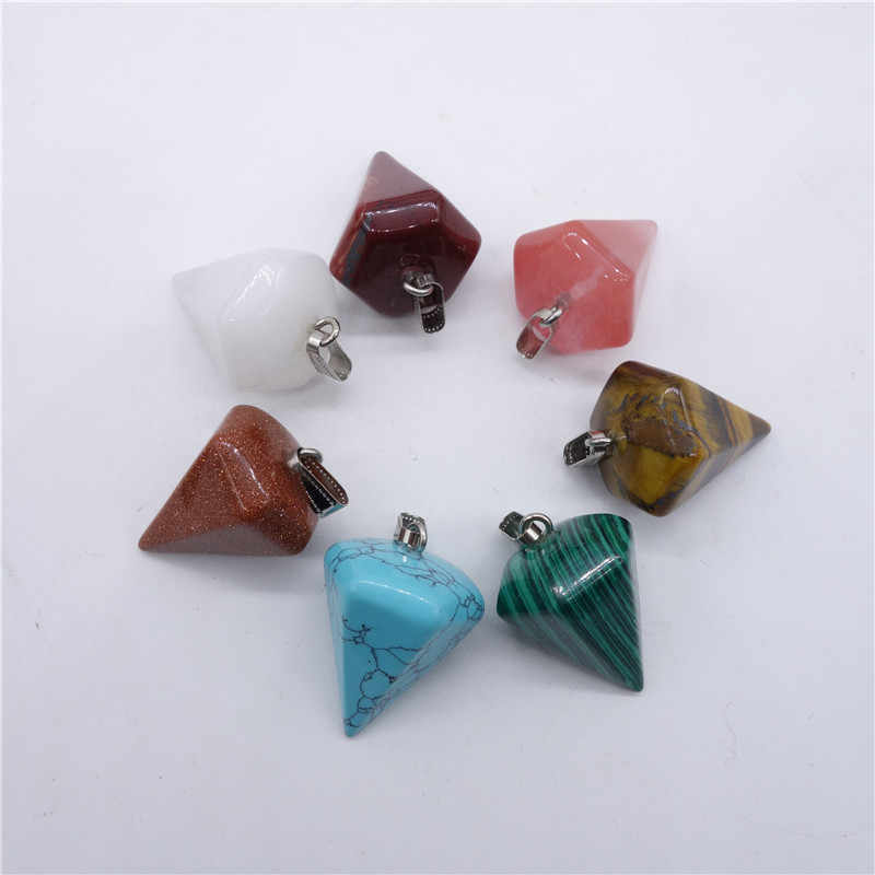 Wholesale Natural Stone Crystal Faceted Wicca Pendulum Pyramid Healing  Reiki Chakra Dowsing Pendant Suspension Making 24pcs/lot