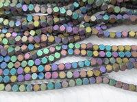 Sale 5strands 2 3 4 5mm Hexagon Hematite gem gold silver rainbow brass matte ,round hexagon faceted loose bead