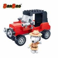 BanBao 7527 Hot IP Snoopy Peanuts Vintage Small Car Plastic Building Blocks Toys For Children Kids Educational Model DIY Bricks