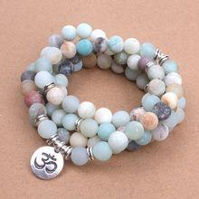Модный женский браслет матовый Амазонит бусины с Lotus OM Будда Шарм Йога браслет 108 Мала ожерелье Прямая поставка