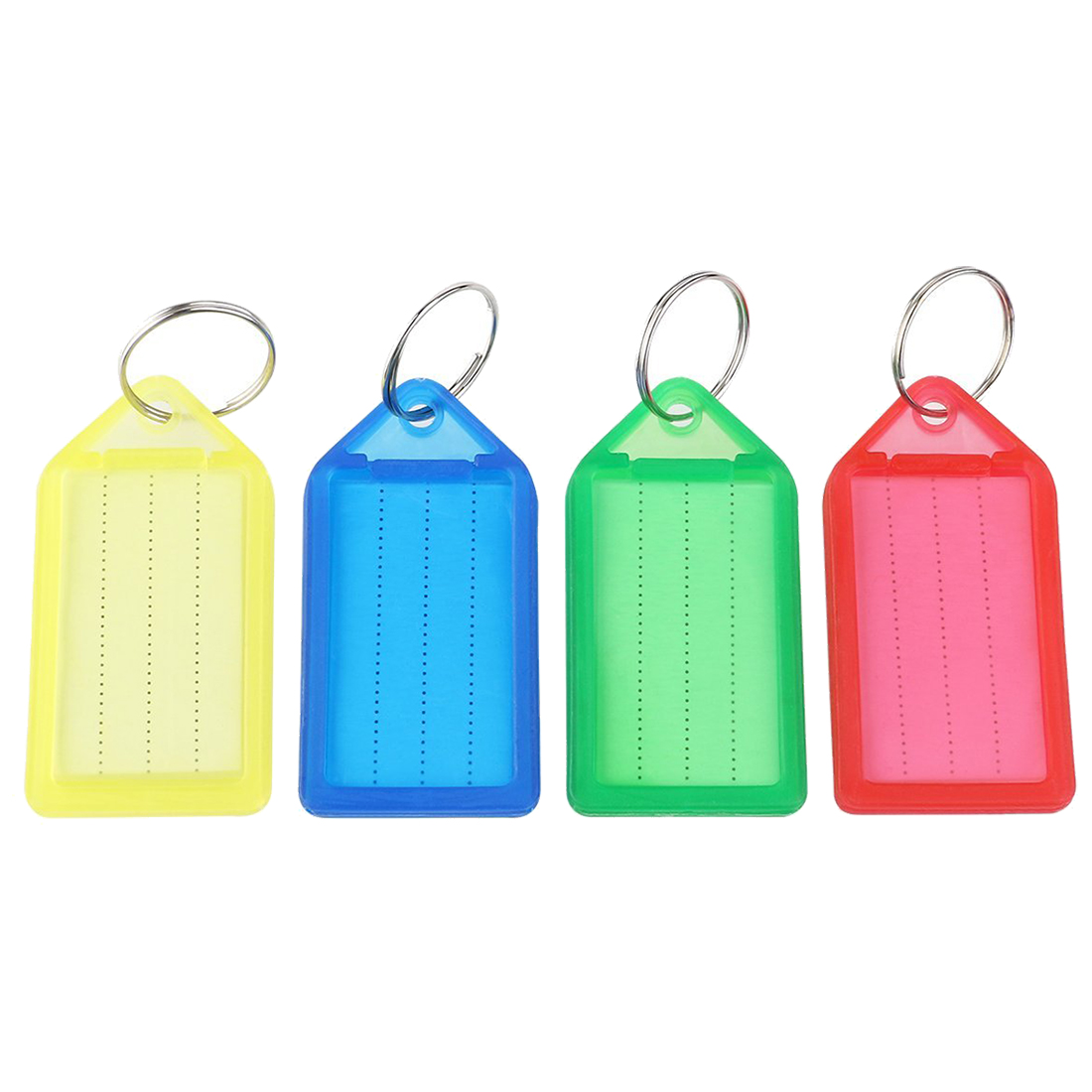 2X 60pcs plastic Slideable Key Fobs Luggage Tags with Key Rings Random Color
