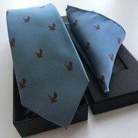 Aigle Motif 3 Pcs/ensemble De Luxe Hommes de Cravates En Soie Ensemble de Haute Qualité Jacquard Tissé Cravate avec Mouchoir et Boîte-Cadeau