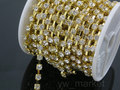 10yards/roll SS6-SS38(2.0mm-9.0mm) Crystal Clear Gold base rhinestone cup chain for jewelry diy making accessories
