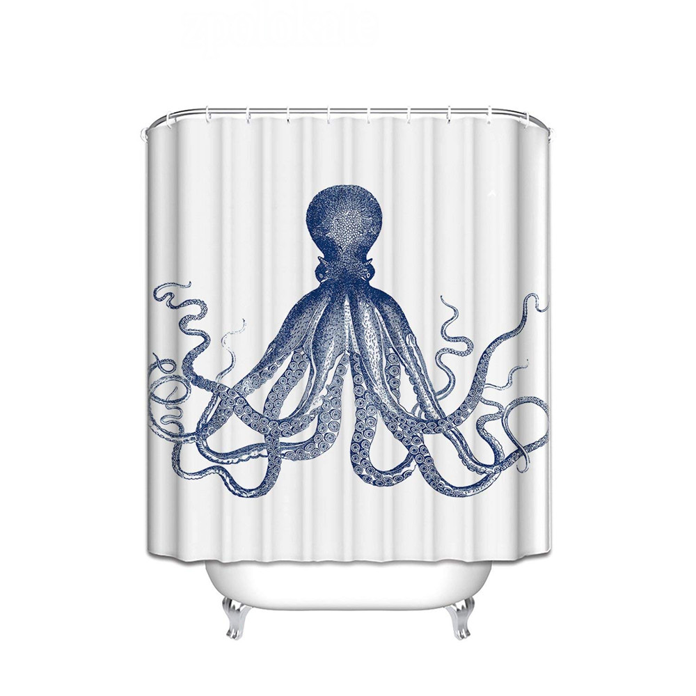 Shower Curtain Octopus Decor Sea Creatures Nautical Blue Polyester Fabric Bathroom Set with Hooks es Long